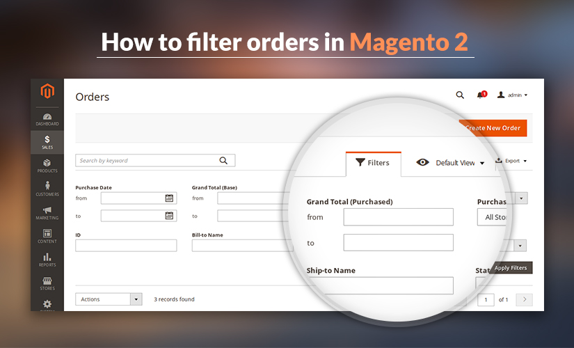 How to filter orders in Magento 2